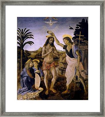 The Baptism Of Christ Framed Print by Leonardo Da Vinci