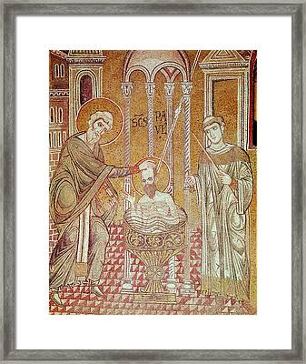 The Baptism Of St. Paul By Ananias, From Scenes From The Life Of St. Paul Mosaic Framed Print by Byzantine School