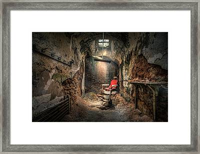 The Barber's Chair -the Demon Barber Framed Print by Gary Heller