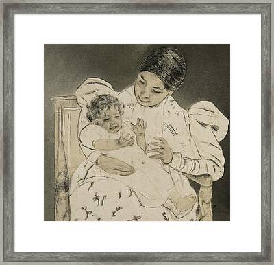 The Barefooted Child Framed Print by Mary Stevenson Cassatt