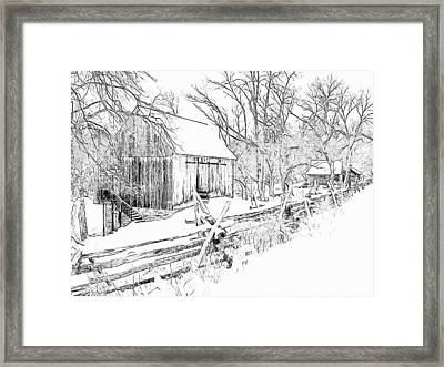Barn / Outbuildings - Oliver Miller Homestead In The Snow Framed Print