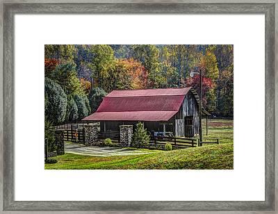 The Barn At Cherry Log Framed Print by Debra and Dave Vanderlaan