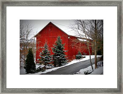 The Barn In Wintertime Framed Print by Jeanne Geidel-Neal
