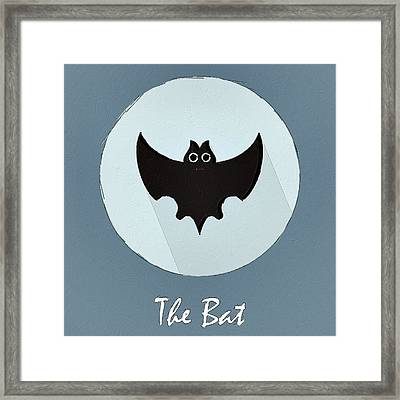 The Bat Cute Portrait Framed Print by Florian Rodarte