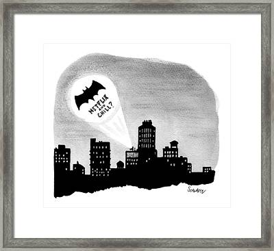 The Bat Signal Says Netflix And Chill? Framed Print by Benjamin Schwartz