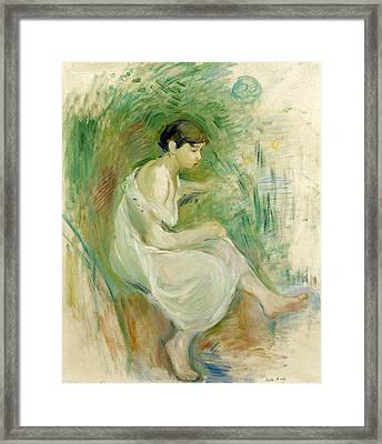 The Bather In Chemise Framed Print by Berthe Morisot