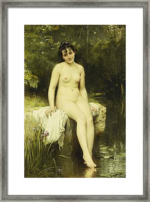 The Bather Framed Print by Leon Bazile Perrault