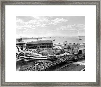 The Battery In Manhattan Framed Print by Underwood Archives