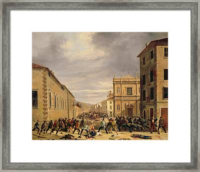 The Battle Of 21st March 1849 In The Piazzetta Santa Barnaba In Brescia Oil On Canvas Framed Print