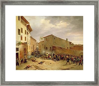 The Battle Of 31st March 1849 In The Via Delle Consolazioni In Brescia Oil On Canvas Framed Print