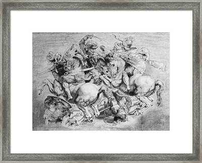 The Battle Of Anghiari Framed Print by Miguel Rodriguez