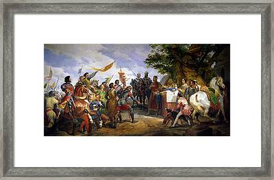 The Battle Of Bouvines Framed Print by Emile Jean Horace Vernet