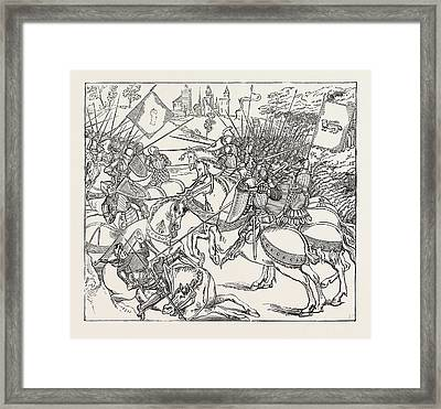 The Battle Of Crey From An Illuminated Copy Of Froissarts Framed Print