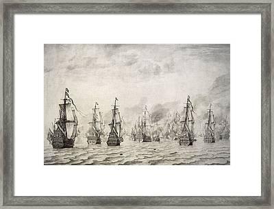 The Battle Of Dunkirk, 1659, By Willem Van De Velde I1611-1693 Framed Print by Bridgeman Images