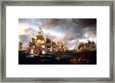 The Battle Of Lowestoft Framed Print by Adriaen van Diest