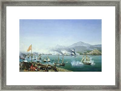 The Battle Of Navarino Framed Print by Ambroise Louis Garneray