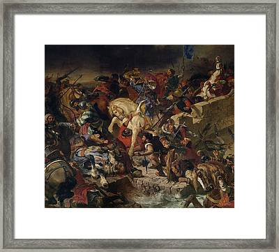 The Battle Of Taillebourg, 21st July 1242, 1837 Oil On Canvas Framed Print by Ferdinand Victor Eugene Delacroix