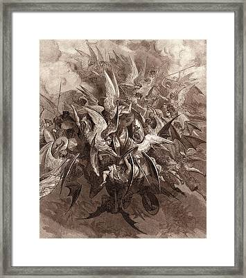 The Battle Of The Angels Framed Print by Gustave Dore
