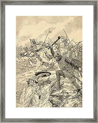 The Battle Of Tours Aka The Battle Of Poitiers, 732.   From Agenda Buvard Du Bon Marche Published Framed Print