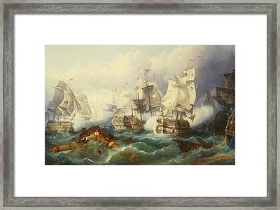 The Battle Of Trafalgar Framed Print by Philip James de Loutherbourg