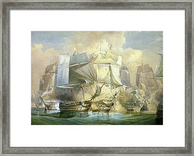The Battle Of Trafalgar Framed Print by William John Huggins