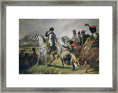 The Battle Of Wagram, 6th July 1809, 1836 Oil On Canvas Framed Print by Emile Jean Horace Vernet