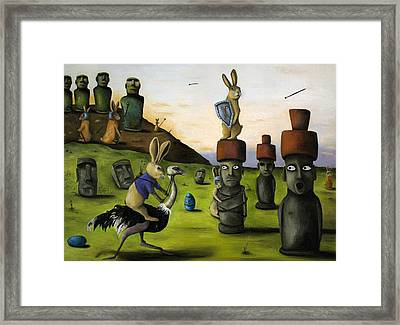 The Battle Over Easter Island Framed Print by Leah Saulnier The Painting Maniac