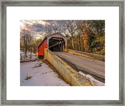 The Baumgardener's Covered Bridge Framed Print by Dave Sandt