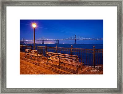 The Bay Bridge In San Francisco Seen From Pier 5 Framed Print by Mel Ashar