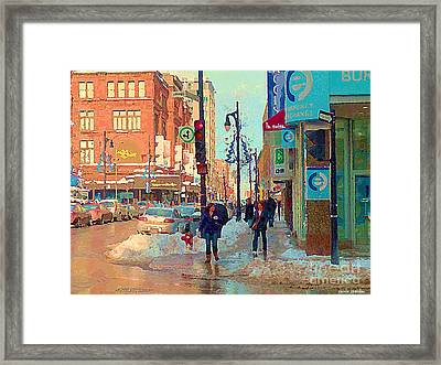 The Bay Department Store Downtown Montreal University And St Catherine Winter City Scene C Spandau  Framed Print by Carole Spandau