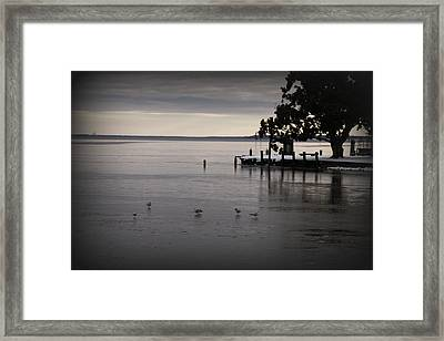 The Bay Is Frozen Framed Print by Carolyn Ricks
