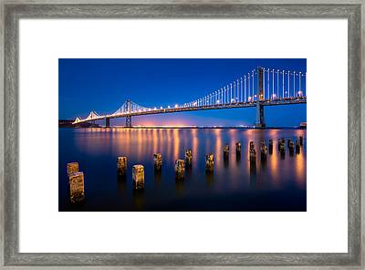 The Bay Lights Framed Print by Alexis Birkill