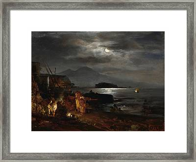 The Bay Of Naples In The Moonlight  Framed Print by Celestial Images