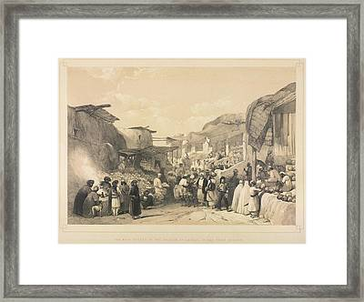 The Bazaar At Caubul Framed Print by British Library
