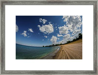 The Beach At Edgwater Park Framed Print by Michael Demagall