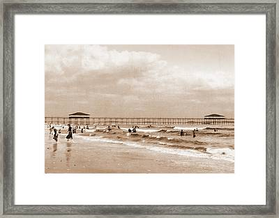 The Beach At Old Orchard, Maine, Beaches Framed Print