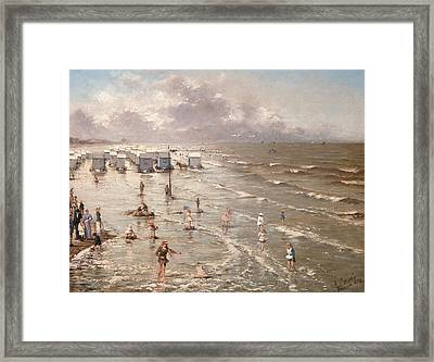 The Beach At Ostend Framed Print by Adolphe Jacobs