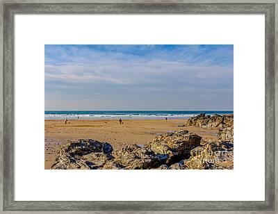 The Beach At Porthtowan Cornwall Framed Print by Brian Roscorla