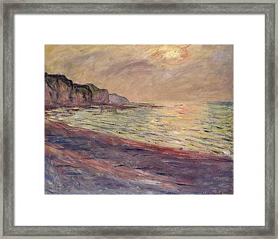 The Beach At Pourville, Setting Sun Framed Print by Claude Monet
