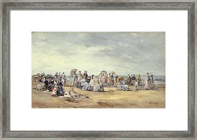 The Beach At Trouville, 1873 Framed Print