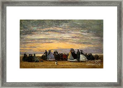 The Beach At Villerville Framed Print by Celestial Images