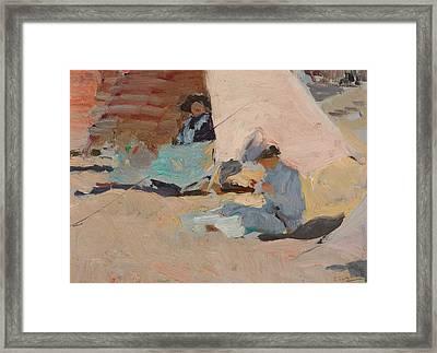The Beach  Biarritz Framed Print by Joaquin Sorolla y Bastida