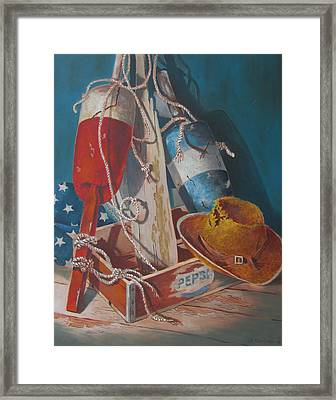 Framed Print featuring the painting The Beach Comber by Tony Caviston
