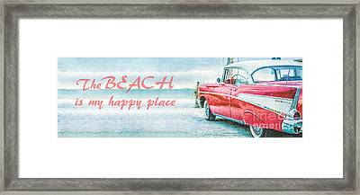 The Beach Is My Happy Place Framed Print by Edward Fielding