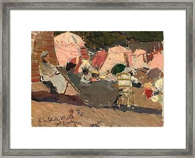 The Beach Framed Print by Joaquin Sorolla y Bastida