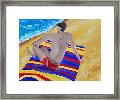 The Beach Towel Framed Print by Donna Blackhall
