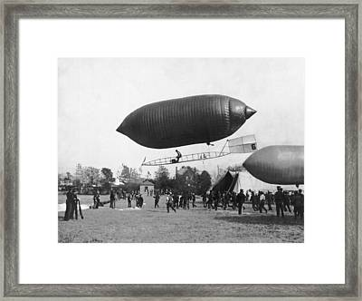 The Beachey Airship Framed Print by Underwood Archives