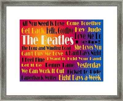 The Beatles 20 Classic Rock Songs 3 Framed Print by Andee Design