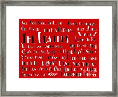 The Beatles 20 Classic Rock Songs Framed Print by Andee Design