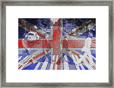 The Beatles Abbey Road Uk Flag Framed Print by Dan Sproul